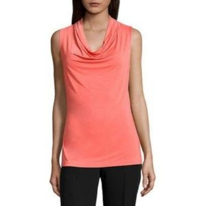 Worthington Cancun Coral draped cowl neck blouse.